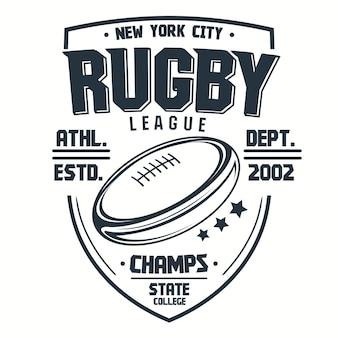 Impresión de camiseta de rugby, emblema del club deportivo, elemento de plantilla de diseño de ropa deportiva de la liga universitaria