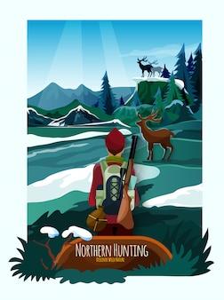 Impresión del cartel de la caza de la naturaleza del paisaje de nothern