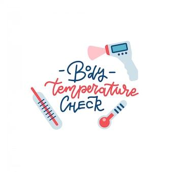 Impresión de cheques de fiebre con letras dibujadas a mano. ilustraciones de diferentes tipos de termómetros.