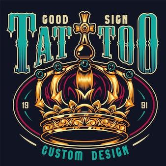 Impresión colorida del estudio del tatuaje del vintage