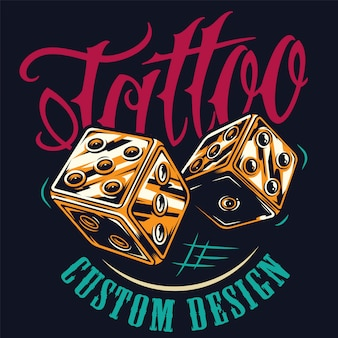 Impresión colorida del estudio del tatuaje