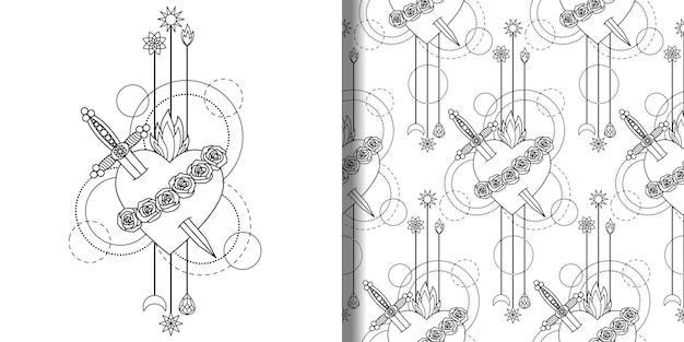 Impresión y conjunto de patrones sin fisuras del inmaculado corazón de la santísima virgen maría