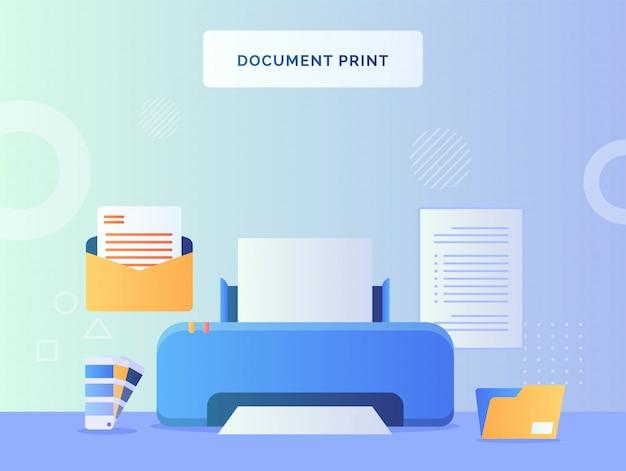 Impresión de documentos en el fondo de la máquina de papel de texto de color de paleta de carpeta de archivo de correo abierto con estilo plano.