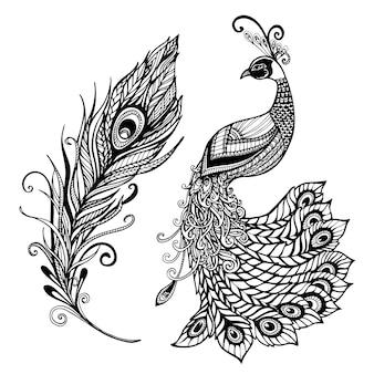 Impresión del doodle del diseño de la pluma del pavo real negro