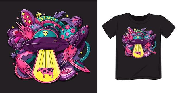 Impresión espacial con platillo alienígena, cohete, planetas, diseño de camiseta de estrellas