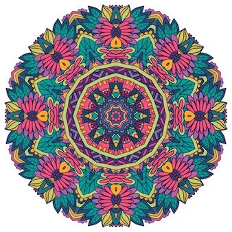 Impresión de estilo folklórico psicodélico geométrico de patrones sin fisuras de vector