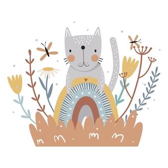 Impresión de flores y arco iris de gato lindo para niños ilustración vectorial