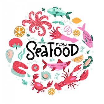 Impresión de forma redonda con iconos de pescados y mariscos de colores con letras a mano. elemento de diseño circular.