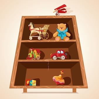 Impresión de juguetes en estanterías.