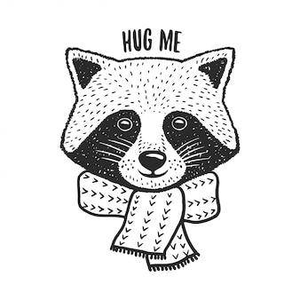 Impresión de mapache dibujado a mano. abrázame cita. ilustración vintage vector