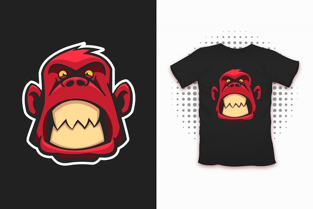 Impresión de mono enojado para diseño de camiseta.