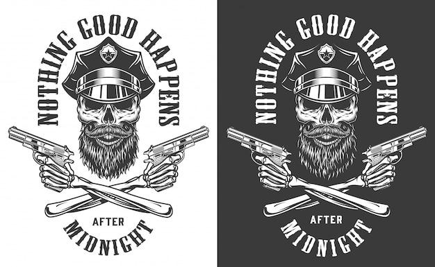 Impresión monocromática policial vintage