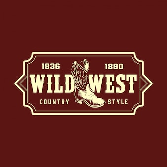 Impresión monocromática del salvaje oeste vintage
