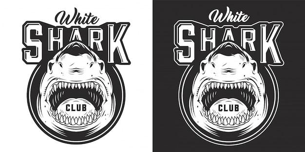 Impresión monocromática de tiburón agresivo enojado