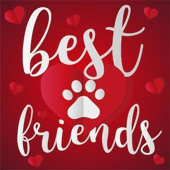 Impresión de la pata del vector del amor animal como mejores amigos del corazón
