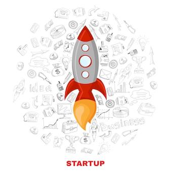 Impresión de póster de concepto de lanzamiento de inicio de negocios