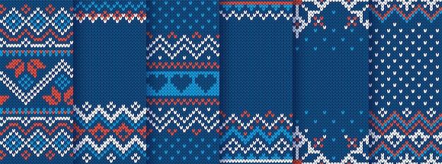 Impresión de punto. navidad de patrones sin fisuras. textura de suéter de punto azul. establecer fondo geométrico de invierno de navidad. adornos tradicionales de la isla de feria de vacaciones. ilustración de jersey de lana. ganchillo festivo