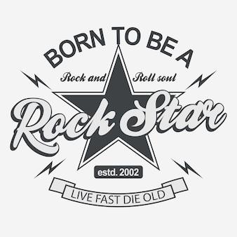 Impresión de rock star para tarjeta o camiseta, insignia retro hipster.