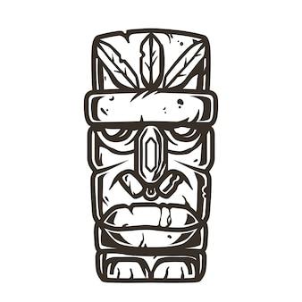 Impresión de surf color de máscara tiki de piedra, ídolo facial. diseño de camiseta de verano de hawaii de ilustración vectorial