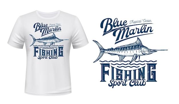 Impresión de vector de camiseta de pez marlin