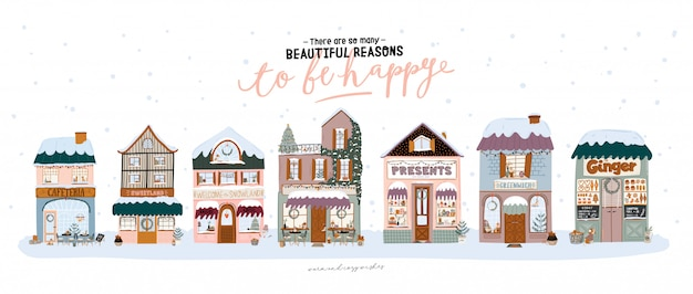 Impresión de venta con hermoso fondo de invierno, elementos navideños y letras de moda. buena plantilla para web, tarjetas, carteles, adhesivos, pancartas, invitaciones, volantes. ilustración vectorial