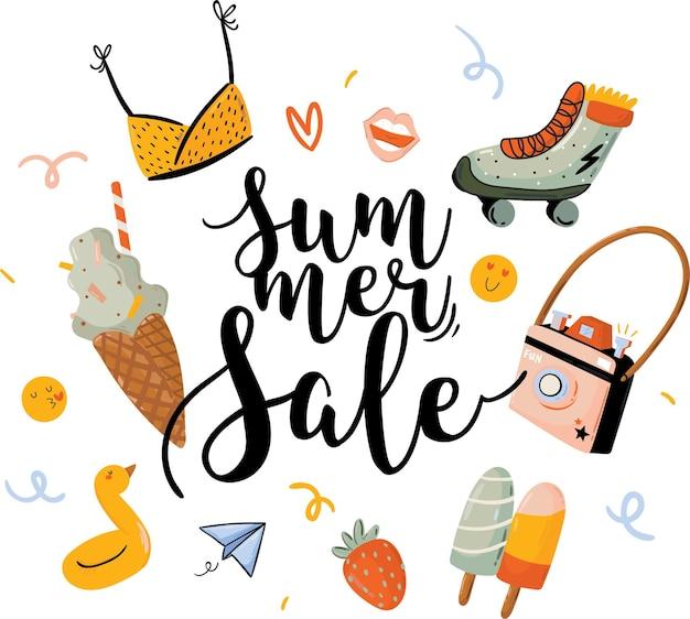 Impresión de venta con hermoso fondo de verano y letras de moda. buena plantilla para web, tarjetas, carteles, adhesivos, pancartas, invitaciones, volantes.