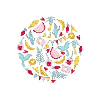 Impresión de verano y tiempo de viaje con frutas, ballena, cámara y traje de baño en estilo doodle en marco redondo