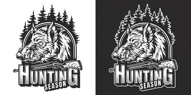 Impresión vintage de temporada de caza monocromo