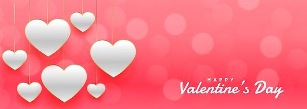 Impresionante banner de bokeh rosa del día de san valentín