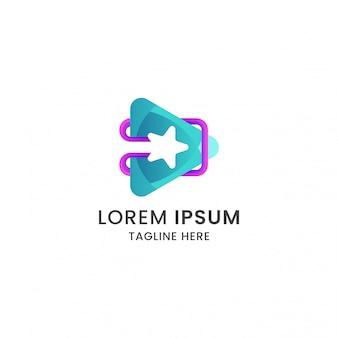 Impresionante botón de reproducción degradado abstracto con vector de premium de plantilla de diseño de icono de logotipo de estrella