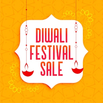 Impresionante cartel de venta de festival de diwali con lámparas diya colgantes