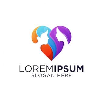 Impresionante y colorida plantilla de logotipo de amor de citas