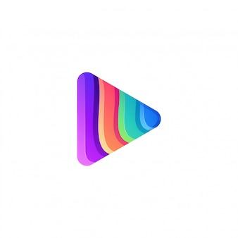 Impresionante colorido diseño de logotipo de play media