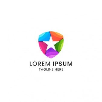 Impresionante colorido escudo estrella logo icono plantilla de diseño premium vector