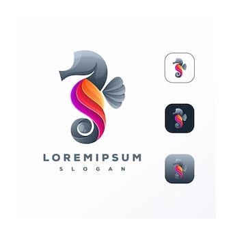Impresionante colorido logotipo de caballitos de mar