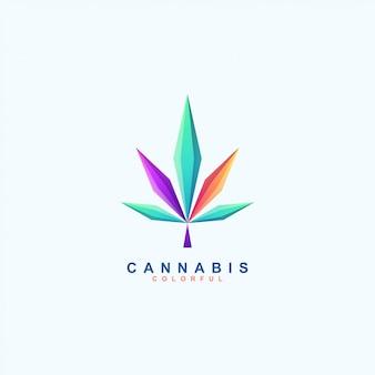Impresionante colorido logotipo de cannabis