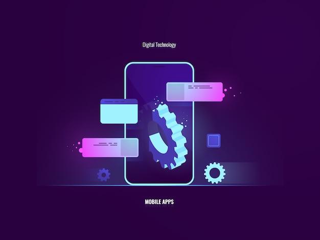 Impresionante concepto de desarrollo de aplicaciones de software móvil, teléfono móvil con gran engranaje