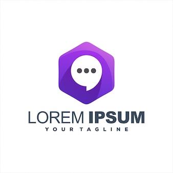 Impresionante diseño de logotipo de chat hexagonal