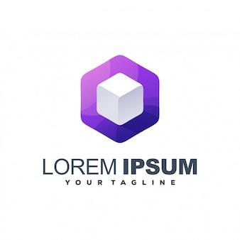 Impresionante diseño de logotipo de cubo blanco