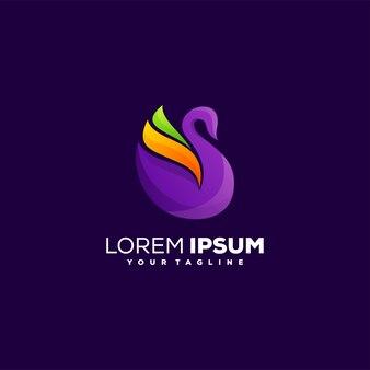 Impresionante diseño de logotipo degradado de cisne