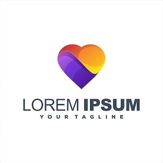 Impresionante diseño de logotipo degradado de corazón