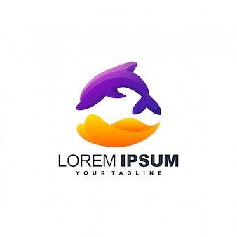 Impresionante diseño de logotipo degradado de delfines