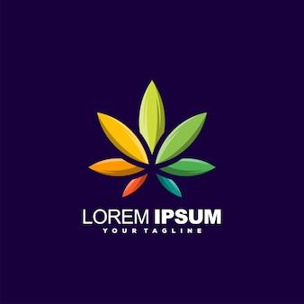 Impresionante diseño de logotipo degradado de hoja