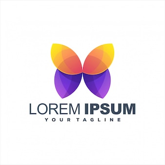 Impresionante diseño de logotipo degradado de mariposa