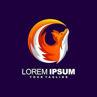 Impresionante diseño de logotipo degradado de zorro