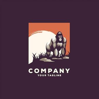 Impresionante diseño de logotipo de gorila de pie