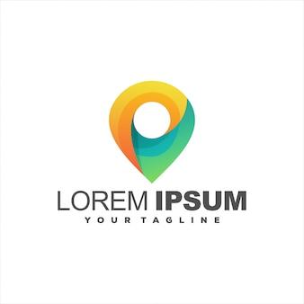 Impresionante diseño de logotipo de gradiente de pin
