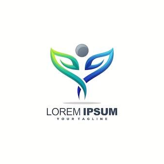 Impresionante diseño de logotipo de hoja humana