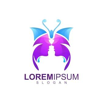 Impresionante diseño de logotipo de mariposa de personas