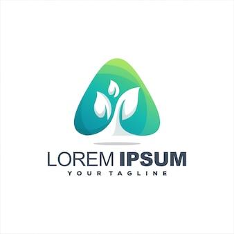 Impresionante diseño de logotipo de planta triangular
